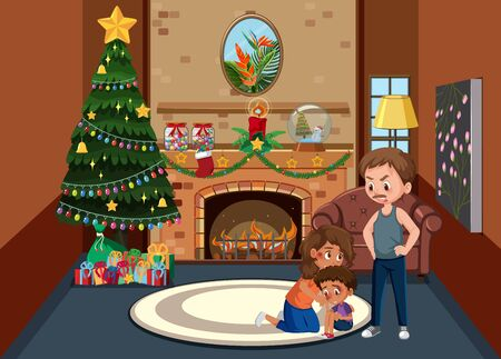 Background scene father bullying family at home illustration