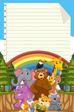 Cute wild animal with blank note template illustration