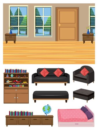 Background scene of living room and set of furnitures on white background illustration 向量圖像