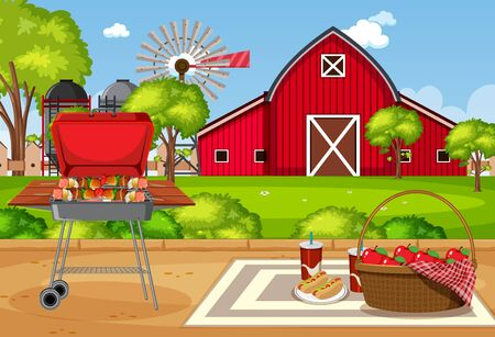 Background scene with barbecue grill in the park illustration Stock Illustratie