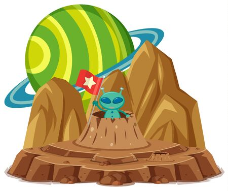 Green alien holding flag on the planet space on white background illustration