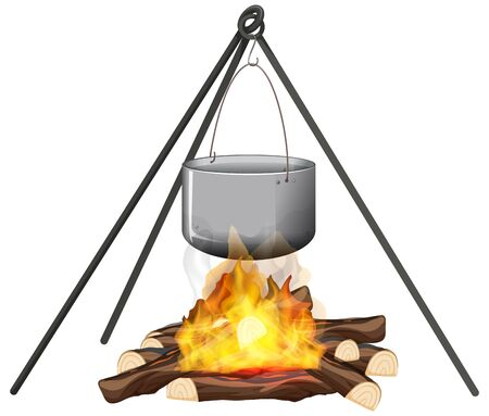 Campfire and cooking pot on stand on white background illustration