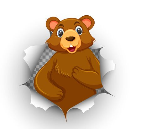 Cute bear coming out of cracked wall illustration