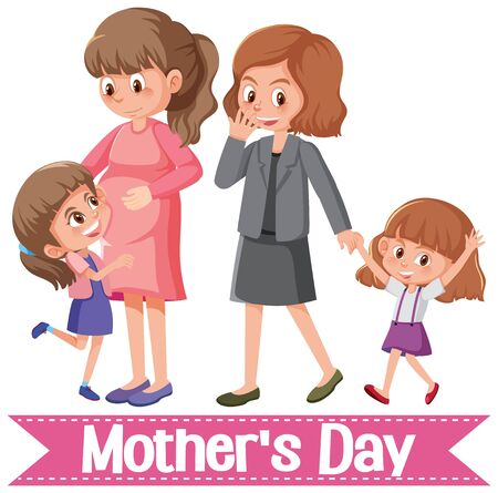 Template design for happy mother's day with moms and daughters illustration Vectores