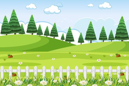 Background scene with green grass and fences in the park illustration