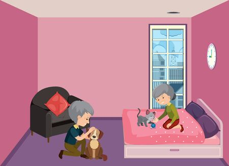 Background scene with old couple staying at home illustration 向量圖像