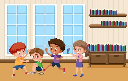 Background scene with kids bullying friend at school illustration