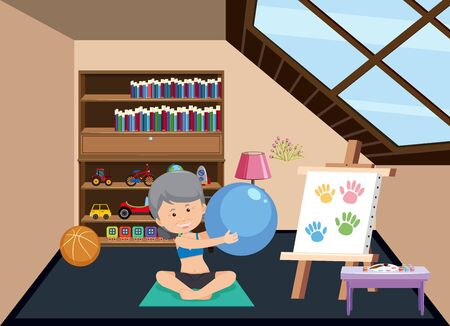 Background scene with old woman doing yoga at home illustration 向量圖像