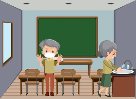 Background scene with old couple in the room illustration