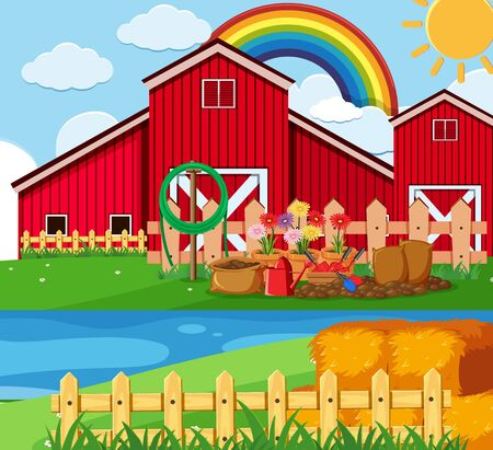 Farm scene with flower garden by the barn illustration