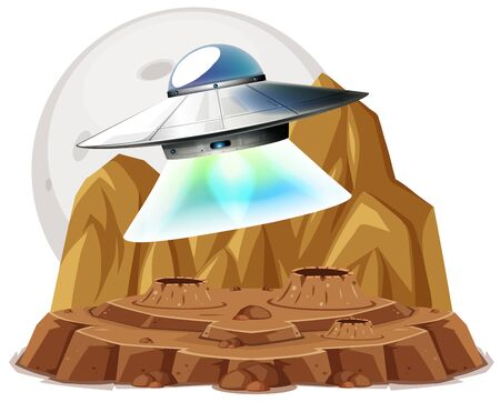 Ufo flying on the planet space on white background illustration