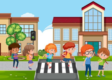Scene with kid bullying their friend on the street illustration Illustration
