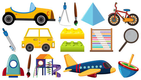 Set of various objects cartoon illustration
