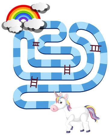 Rainbow unicorn board game template for preschool kids isolated illustration Illustration