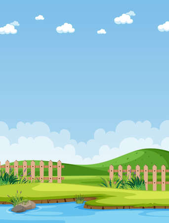 Vertical nature scene or landscape countryside with part of farm view and blank sky at daytime illustration