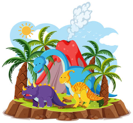 Cute dinosaurs with volcano eruption isolated on white background illustration