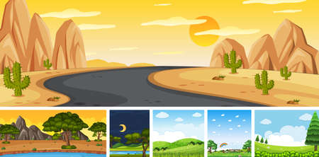 Set of different nature place scene in vertical and horizon scenes at daytime and night illustration