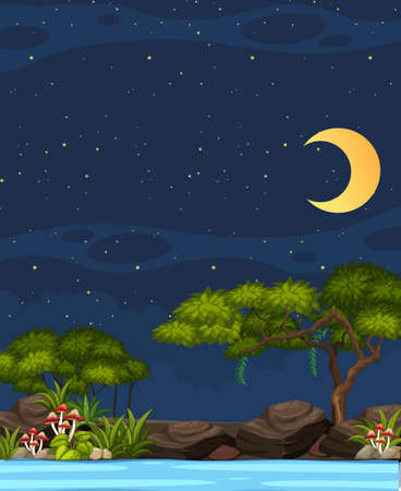 Vertical nature scene or landscape countryside with forest riverside and blank sky at night illustration Çizim
