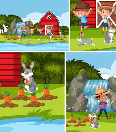 Simple farm background set illustration