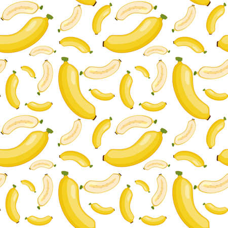 Banana seamless pattern on white background illustration