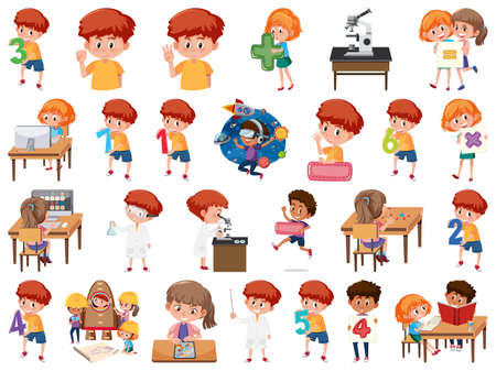 Set of children with education objects isolated illustration