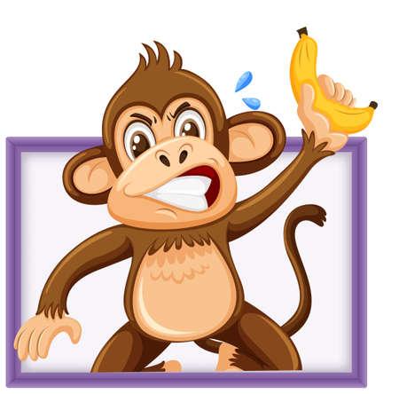 Cute monkey holding banana with funny face isolated on white background illustration