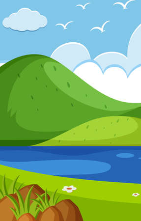 Empty nature scenes with green mountain and blank sky illustration Çizim