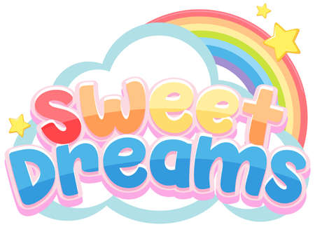 Sweet dreams logo in pastel color with cute rainbow and little star illustration