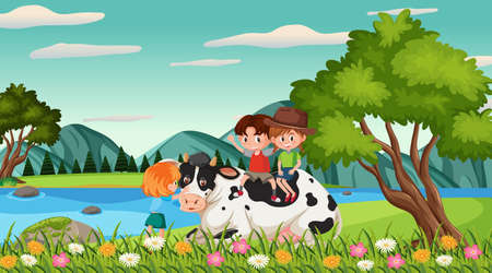 Scene with happy kids and animals in the park illustration