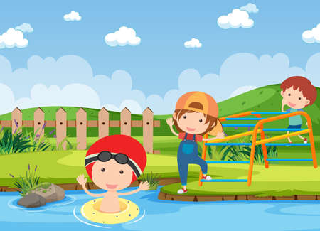 Background scene with kids playing in the park illustration