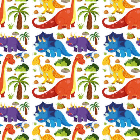 Seamless cute dinosaurs isolated on white background illustration