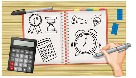 Close up hand writing a clock on notebook with calculator on desk background illustration