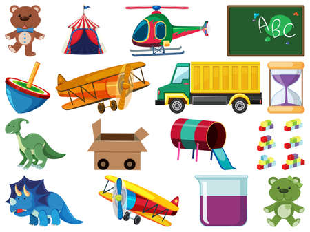 Set of various objects cartoon illustration