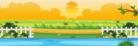 Horizon nature scene or landscape countryside with part of fence riverside view and yellow sunset sky view illustration