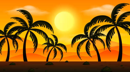 Background scene with sunset and silhouette illustration Illustration