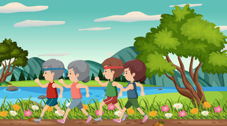 Scene with old people running in the park illustration Çizim