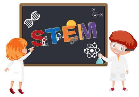 Stem logo on blackboard with kids wearing scientist costume illustration