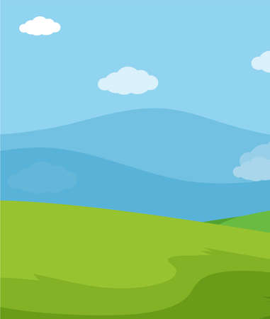 Empty nature scenes with green meadow and blank blue sky illustration