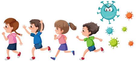 Four kids running away from coronavirus icon isolated illustration