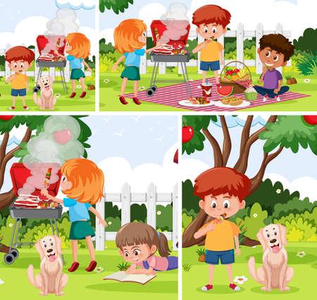 Children with outdoor background set illustration
