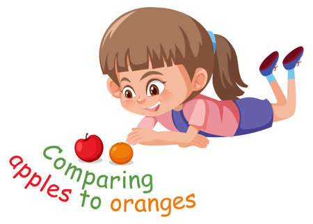 English idiom with picture description for comparing apples to oranges on white background illustration