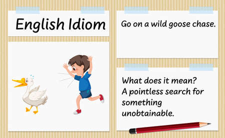 English idiom go on a wild goose chase template illustration