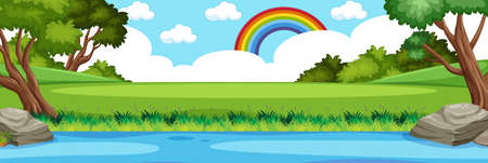 Horizon nature scene or landscape countryside with forest view and rainbow in blank sky at daytime illustration