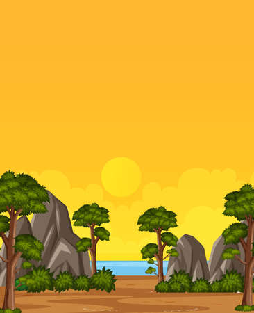 Vertical nature scene or landscape countryside with trees and stones by the beach view and yellow sunset sky view illustration