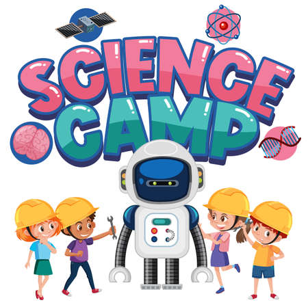 Science camp logo with children wearing engineer costume isolated illustration