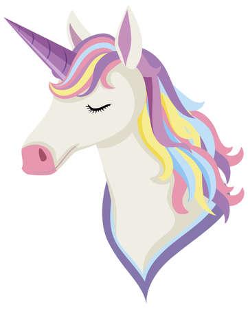 Unicorn head with rainbow mane and horn isolated on white background illustration Vettoriali