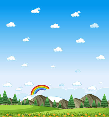 Vertical nature scene or landscape countryside with forest view and rainbow in blank sky at daytime illustration Vettoriali