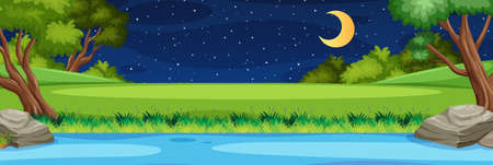 Horizon nature scene or landscape countryside with forest riverside view and moon in the sky at night illustration