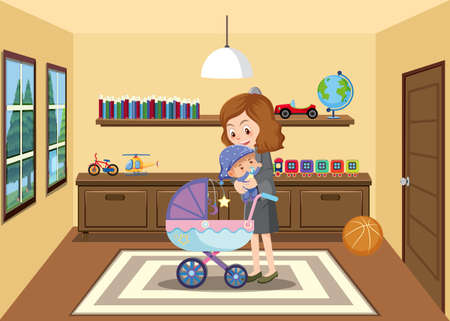 Mother takes her baby from baby stroller in the house cartoon style illustration