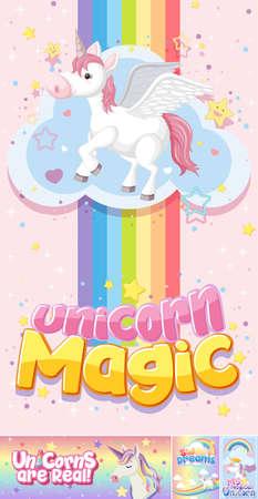 Cute unicorn banner on pastel background color illustration Vettoriali